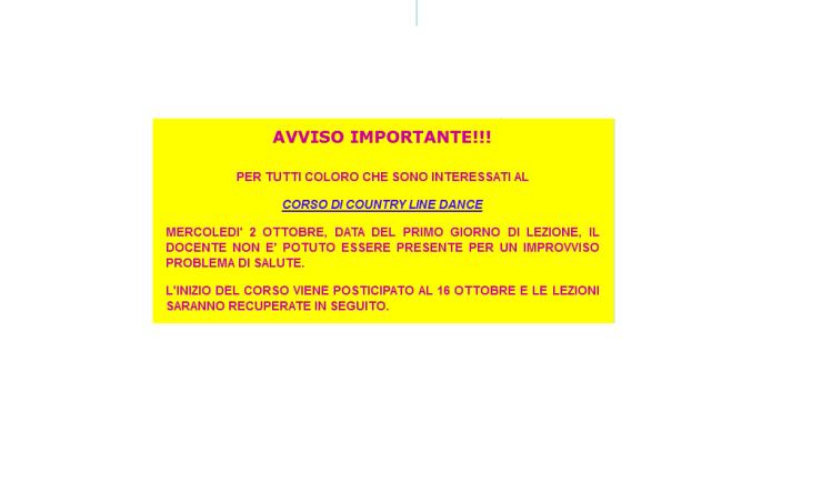 AVVISO PER CORSO DI COUNTRY